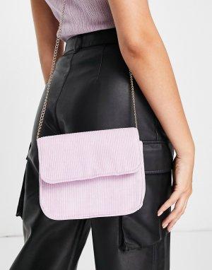 Сиреневая вельветовая сумка через плечо с ремешком-цепочкой -Фиолетовый цвет Truffle Collection