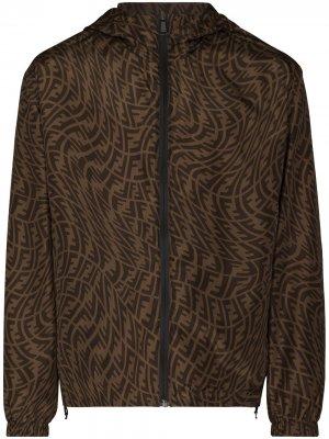 Двусторонняя куртка с логотипом FF Vertigo Fendi. Цвет: коричневый