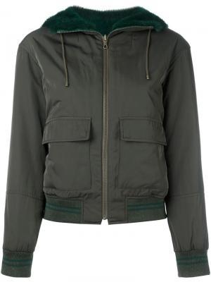 Двухсторонняя куртка-бомбер Army Yves Salomon. Цвет: зелёный