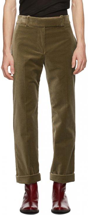 Khaki Velvet Classic Trousers Haider Ackermann. Цвет: gent desert