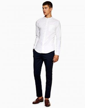 Белая эластичная рубашка с длинными рукавами -Белый Topman