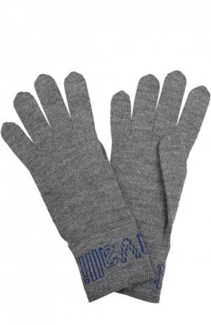 Вязаные перчатки Just Cavalli. Цвет: серый