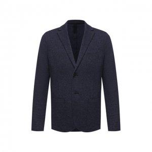 Пиджак из шерсти и хлопка Harris Wharf London. Цвет: синий