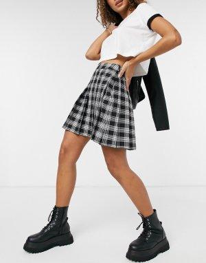 Плиссированная теннисная юбка черного цвета в клетку -Черный цвет New Look