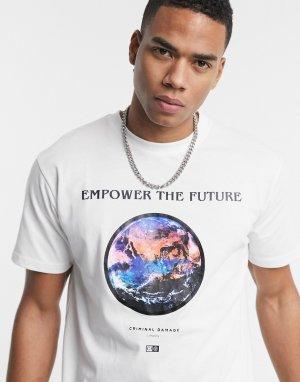 Белая футболка с надписью Empower the future -Белый Criminal Damage