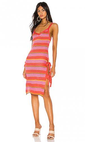 Миди платье в полоску rayo Tularosa. Цвет: розовый