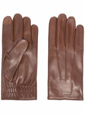 Перчатки с логотипом Coach. Цвет: коричневый