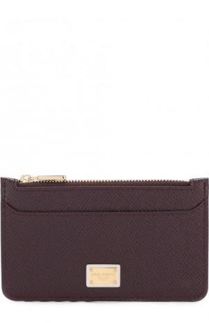 Кожаный футляр для кредитных карт с отделением на молнии Dolce & Gabbana. Цвет: бордовый