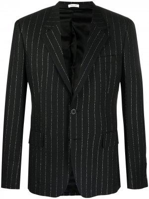 Однобортный пиджак в тонкую полоску Alexander McQueen. Цвет: черный