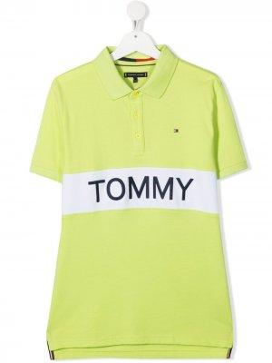 Рубашка поло с логотипом Tommy Hilfiger Junior. Цвет: зеленый