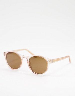 Круглые солнцезащитные очки в стиле унисекс с прозрачной бежевой оправой Marvin-Светло-бежевый A.Kjaerbede