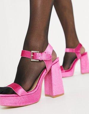Ярко-розовые бархатные сандалии на платформе -Розовый цвет Glamorous