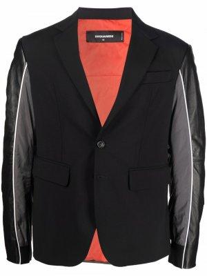 Однобортный пиджак со вставками Dsquared2. Цвет: черный