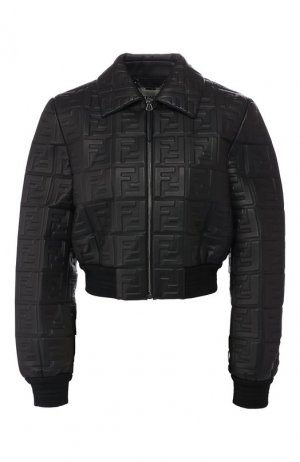 Кожаная куртка Fendi. Цвет: черный