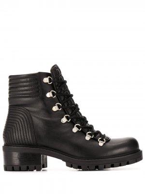 Стеганые ботинки на шнуровке Albano. Цвет: черный