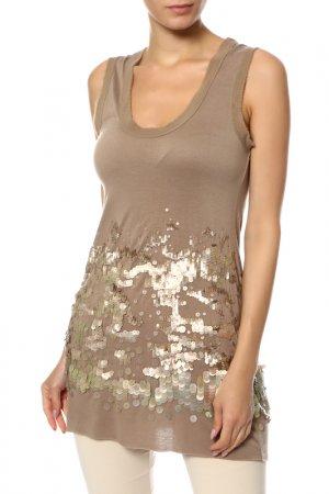 Майка с пайетками Givenchy. Цвет: бежевый