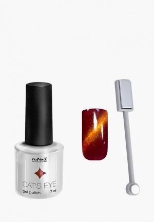 Набор для ухода за ногтями Runail Professional магнит и Гель-лак Cat's eye золотистый блик, цвет: Благородная кошка. Цвет: коричневый