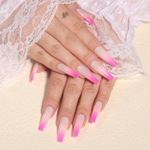 24шт омбре Накладные ногти & 1шт пилочка для ногтей 1 лист лента SHEIN. Цвет: ярко-розовый