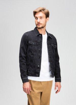 Джинсовая куртка со стиркой O`Stin. Цвет: графитовый