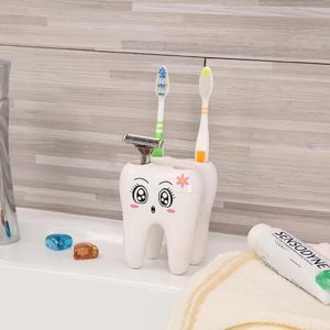 Держатель зубной щетки в форме зуба 1шт SHEIN. Цвет: белый