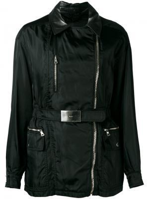 Куртка с кожаным воротником Prada Pre-Owned. Цвет: черный