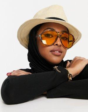 Регулируемая соломенная шляпа бежевого цвета -Коричневый цвет ASOS DESIGN