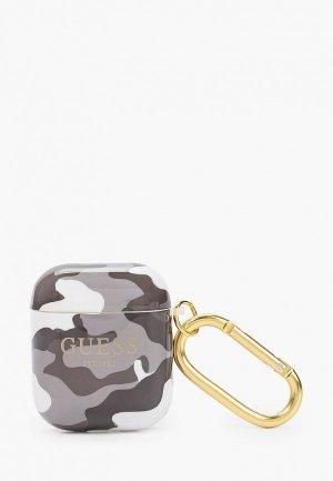 Чехол для наушников Guess Airpods 1/2, TPU with carabin Camouflage Black. Цвет: серый