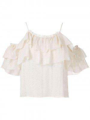 Блузка Domi с люрексом Nk. Цвет: белый