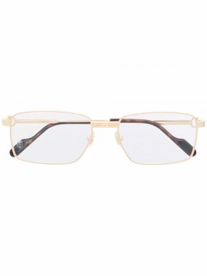 Солнцезащитные очки в прямоугольной оправе Cartier Eyewear. Цвет: золотистый