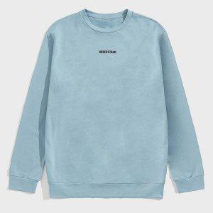 Мужской пуловер с текстовым принтом SHEIN. Цвет: кадетский синий