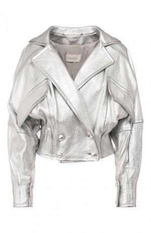 Кожаная куртка Zimmermann. Цвет: серебряный