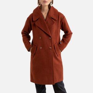 Пальто LaRedoute. Цвет: каштановый