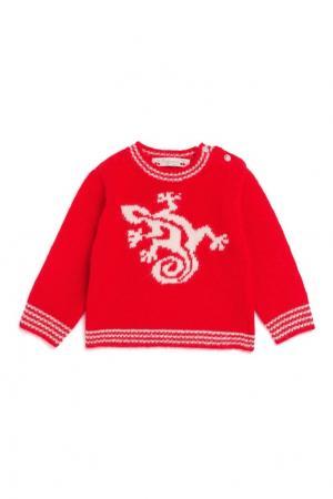 Пуловер из мериносовой шерсти и ангоры Bonpoint. Цвет: красный