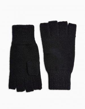 Черные перчатки без пальцев -Черный цвет Topman