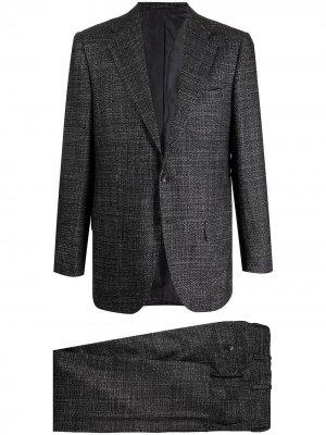 Строгий костюм с однобортным пиджаком Kiton. Цвет: черный