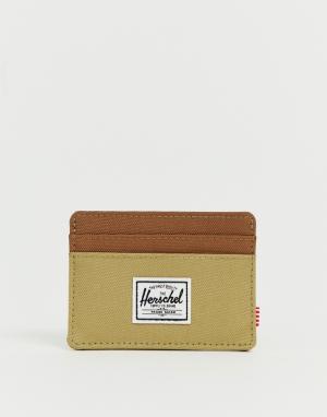 Бежево-коричневый чехол для карт с RFID-защитой Charlie Herschel Supply Co. Цвет: бежевый