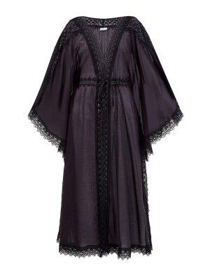 Легкая туника Angela из полупрозрачного хлопка с вышивкой CHARO RUIZ IBIZA. Цвет: черный