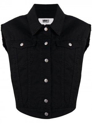Джинсовая куртка без рукавов MM6 Maison Margiela. Цвет: черный