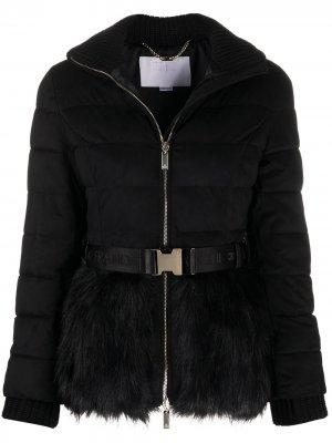 Стеганая куртка с меховой оторочкой Elisabetta Franchi. Цвет: черный