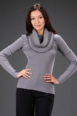 Пуловер, воротник Bill Blass. Цвет: серый