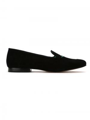 Embroidered suede Drinks loafers Blue Bird Shoes. Цвет: черный