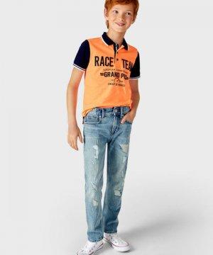 Джинсы c заплатками для мальчиков O`Stin. Цвет: голубой