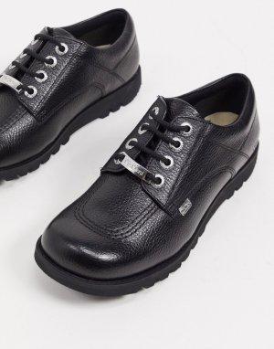 Ботинки на плоской подошве со шнуровкой из черной кожи kick low luxx-Черный Kickers