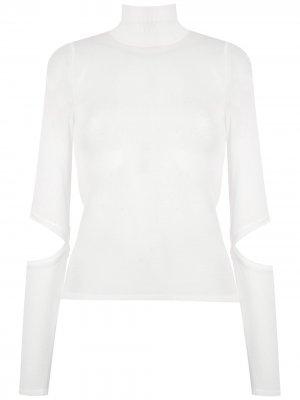 Трикотажная блузка с высоким воротником Gloria Coelho. Цвет: белый