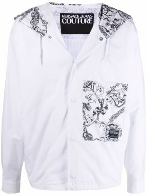 Куртка с капюшоном и принтом Versace Jeans Couture. Цвет: белый