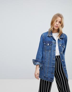 Длинная джинсовая куртка New Look. Цвет: синий