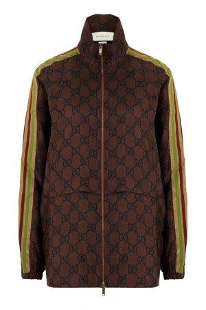 Шелковый бомбер с монограммами Gucci. Цвет: коричневый