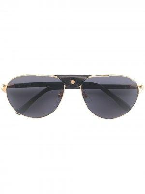 Солнцезащитные очки в оправе авиатор Cartier Eyewear. Цвет: золотистый