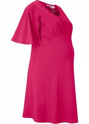 Платье для беременных bonprix. Цвет: ярко-розовый