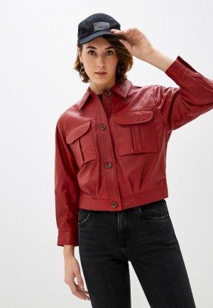 Куртка кожаная Pepe Jeans. Цвет: красный